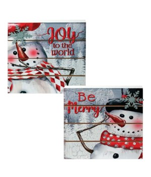 2 Asstd Wooden Snowman Block Sign