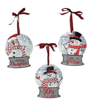 3 Asstd Wood/Galvanized Snowman Snow Globe Ornament