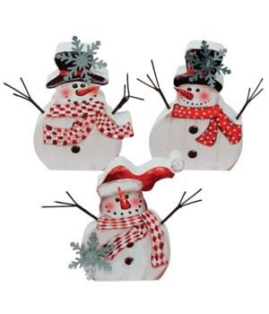 3 Asst Wooden Snowman Block