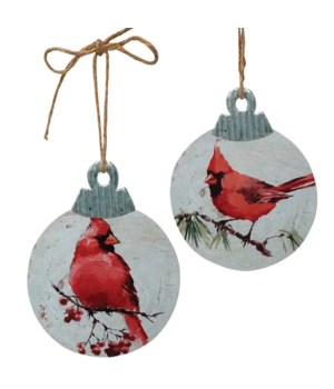 2 Asst Wood/Galvanized Cardinal Ornament