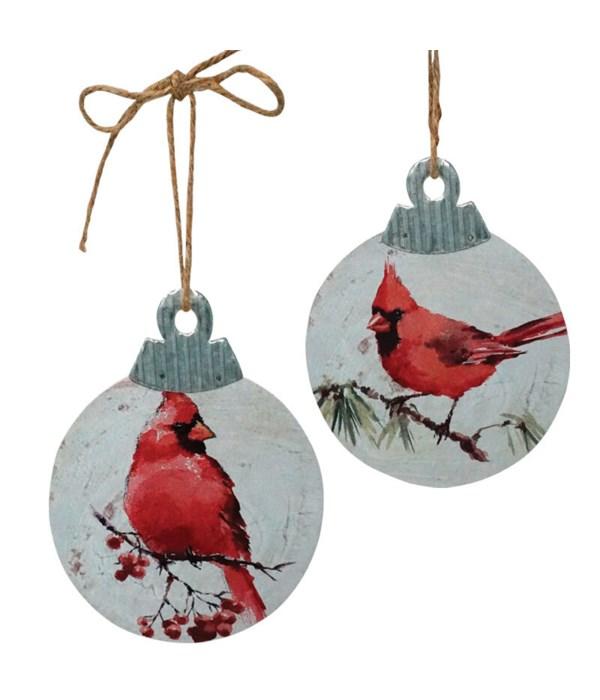 2 Asst Wood/Galvanized Cardinal Ornament