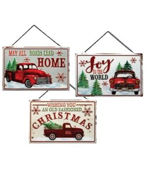 3 Asstd Metal Holiday Nostalgia Truck/Car Sign