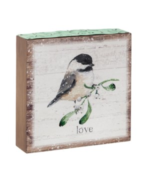 Love Wood Block w/Bird