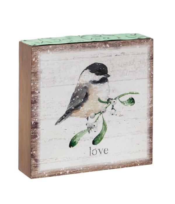 Love Wood Block w/Bird