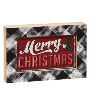 Merry Christmas Sign with Black & White Plaid