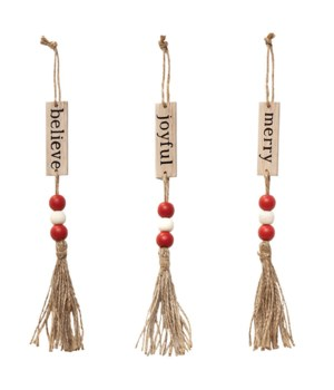 3 Asstd Sm Tassle Ornament with Red and White  Bead
