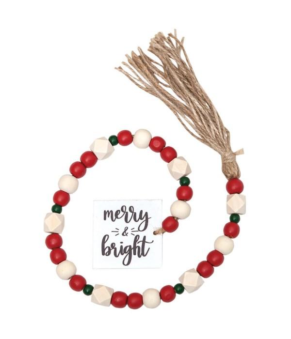 Tassle Garland w/Red/Wht Beads