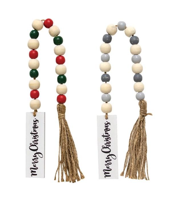 2 Asstd Merry Christmas Tassle Garland w/Beads