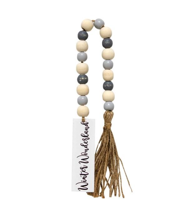 Winter Wonderland Tassle Garland w/Grey/Wht Beads