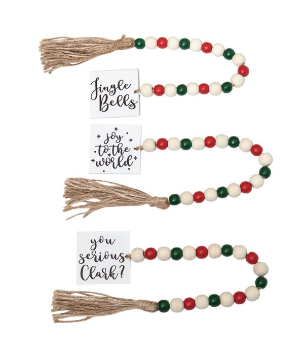 3 Asstd Sm Tassle Garland w/Red/Grn Beads