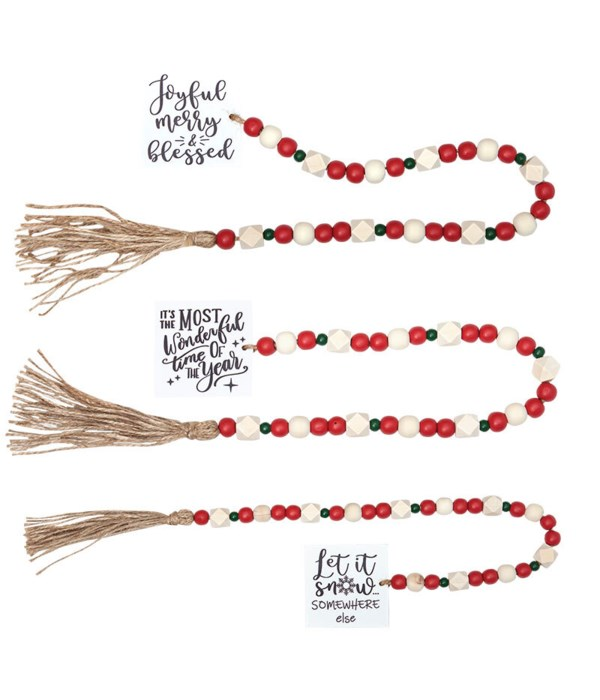 3 Asstd Lg Tassle Garland w/Red/Grn Beads