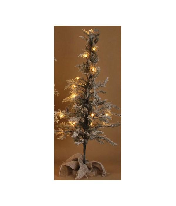 Med Flocked Tree w/LED Light