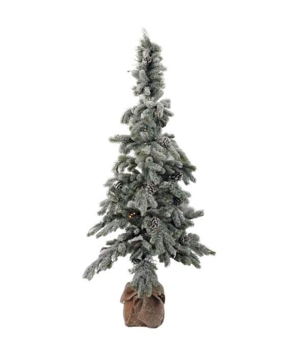 Lg Flocked Tree w/LED Light