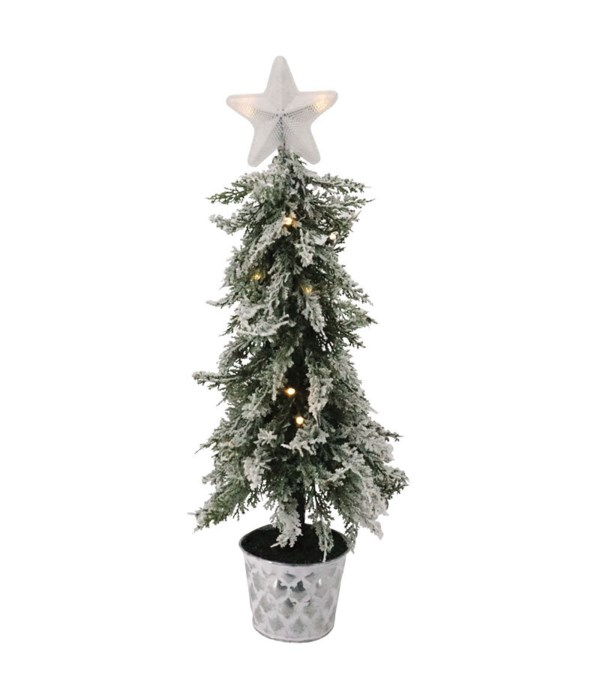 Frosted Christmas Tree w/Star in Galvanized Bucket