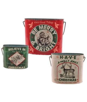 S/3 Metal MERRY & BRIGHT Bucket