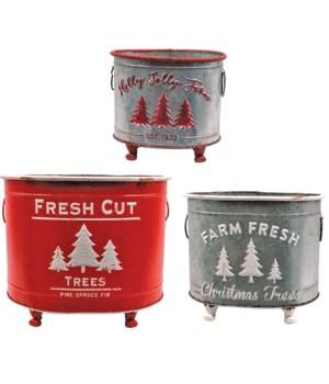 S/3 Metal Christmas Tree Pot