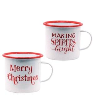 2 Asstd Metal MAKING SPIRITS BRIGHT/MERRY CHRISTMAS Mug