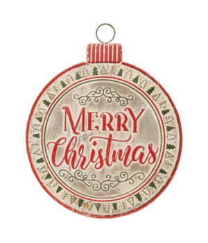 Red and Green Merry Christmas Ornament Sign
