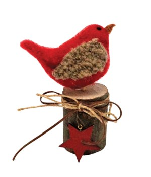 Sm Felted Cardinal on Wooden Stump