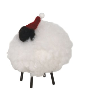 Lg Felted Fluffy Sheep w/Hat