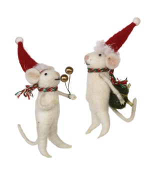 2 Asstd Felted Mouse Ornament