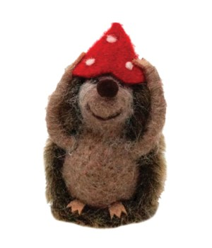 Felted Hedgehog w/Mushroom Hat