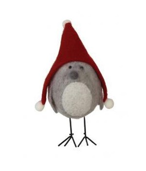Standing Felted Bird w/Red Hat