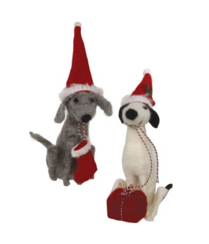 2 Asstd Felted Christmas Dogs