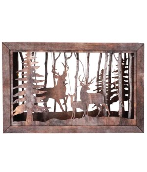 Sm Wooden Deer Scene w/LED Timer Light