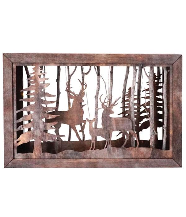 Sm Wooden Deer Scene w/LED Timer Light