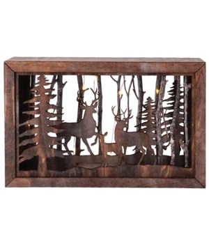 Lg Wooden Deer Scene w/LED Timer Light