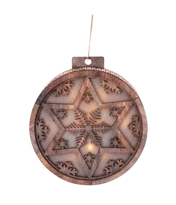 Round Wooden Ornament w/LED Light