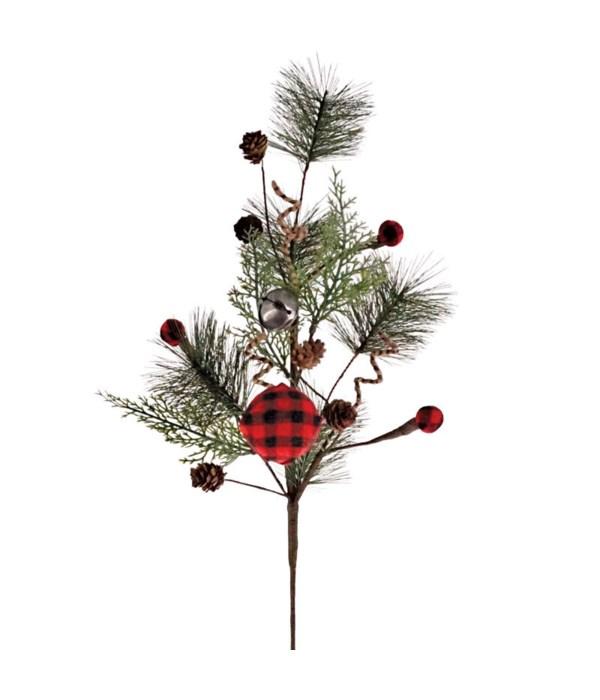 Pine Spray w/Red/Black Plaid Ball