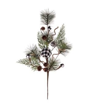 Pine Spray w/White/Black Plaid Ball