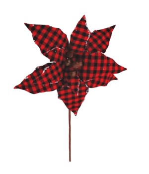Black/Red Plaid Poinsettia Pic