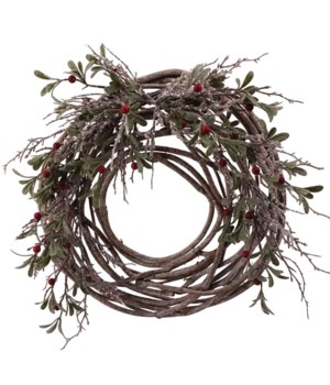 Frosted Wreath w/Red Berry & Wicker Frame
