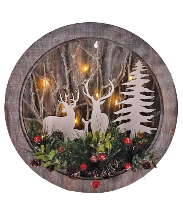 Sm Round Cut Out Deer Scene w/LED Light