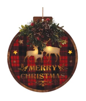 Round Red/Black Plaid Ornament w/LED Light