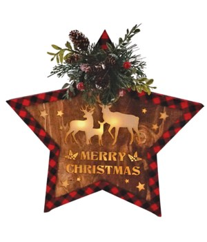 Red/Black Plaid Star Ornament w/LED Light