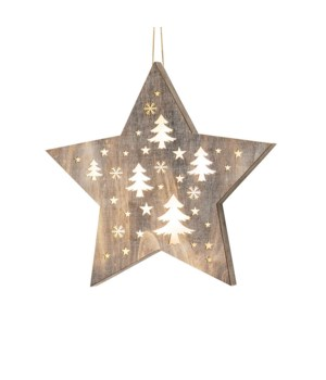 Sm Star w/Cutout Trees Ornament