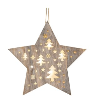 Lg Star w/Cutout Trees Ornament