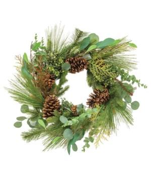Lg Pine w/Leaf Wreath