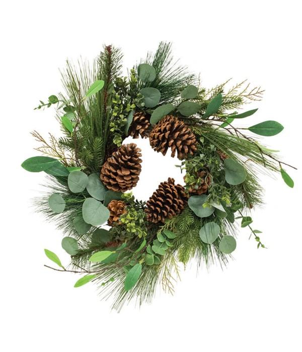 Sm Pine w/Leaf Wreath