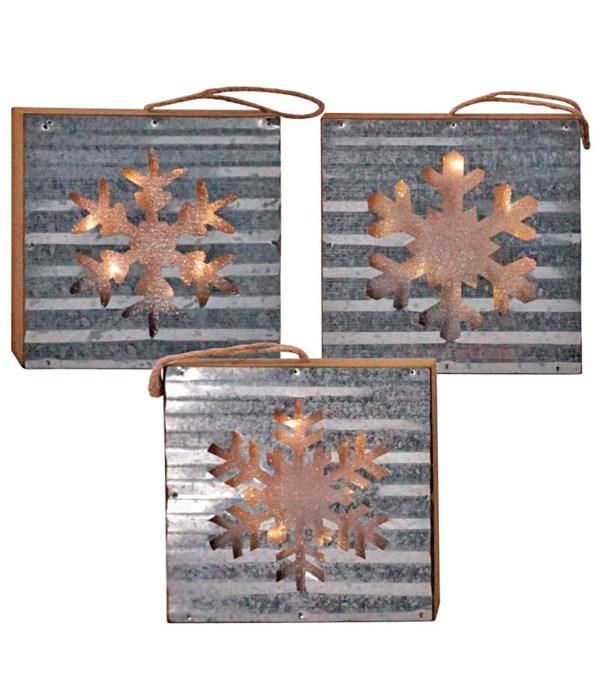 3 Asst Galvanized Snowflake Block Ornament w/LED Light
