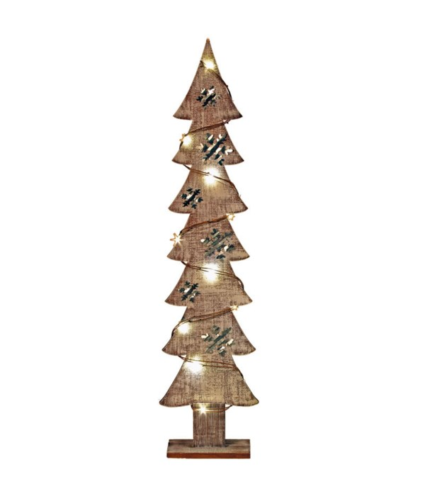 Lg Wood/Galvanized Snowflake Tree w/LED Light