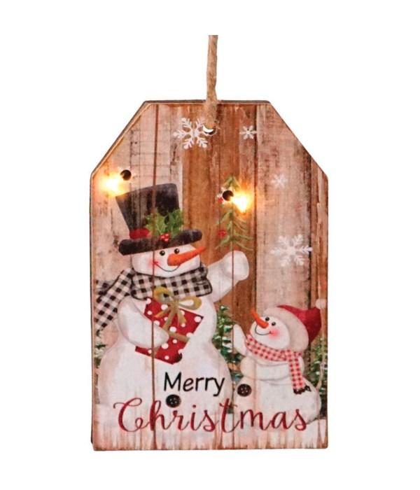 2 Asst Sm Wooden Snowman Tag Ornament w/LED Light