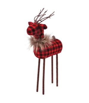 Sm Red/Black Plaid Reindeer