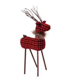 Med Red/Black Plaid Reindeer