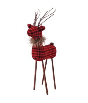 Lg Red/Black Plaid Reindeer