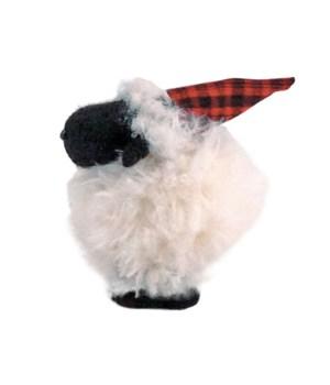 Sm Furry Sheep w/Santa Hat
